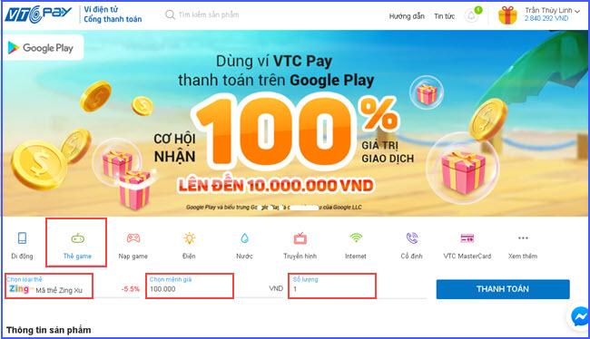 huong dan mua the zing online gia re tai vtc pay 2