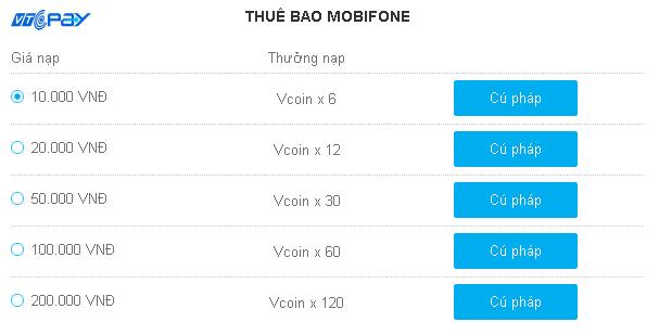 Hướng dẫn mua mã thẻ Vcoin dễ dàng bằng SMS mạng Mobifone