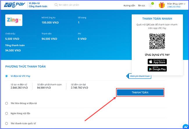 huong dan mua the zing online gia re tai vtc pay 3