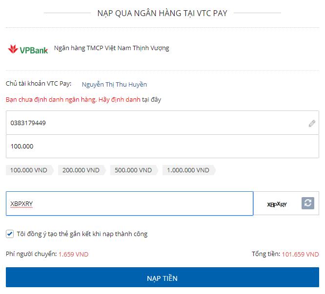 nap vi qua ngan hang tai VTC Pay